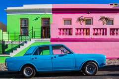 Colourful buildings and a classic car in the Bo-Kaap area if Cape Town